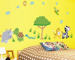 Wholesale 3d Tree For Kids Wall - Cartoon 3d Animals Tree PVC wall sticker for kids rooms boys girls home decor child sticker wall art decals decoration Removable
