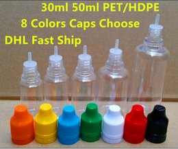 Wholesale Hdpe Bottles - 2015 Hot 50ml e-Juice Bottles PET HDPE 50ML Oil Bottles with Dual Childproof unicorn bottles for e liquid, USA UK Canada Popular Bottles