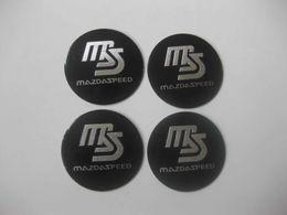 cubo da roda jaguar Desconto 4 Pcs MS MazdaSpeed Liga De Alumínio Da Roda Do Carro Hub Hub Caps Etiqueta Emblema