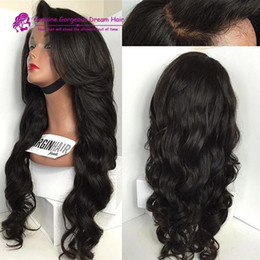 Wholesale French Human Body - Top Quality Brazilian Body Wave Virgin Full Lace Wig 100% Unprocessed Human Hair Lace Wigs For Black Women With Baby Hair