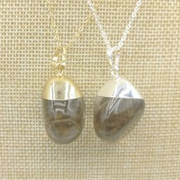 Wholesale Quartz Size - JLN Smoky Quartz Pendant Free Size Natural Stone Quartz Crystal Gold Silver Plated Cap Necklace With Brass Chain Gift For Men And Women