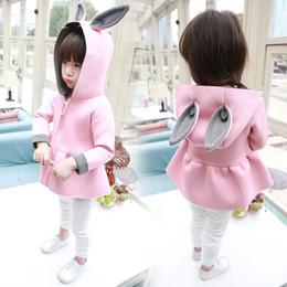 Wholesale Rabbit Coat For Baby - wholesale 5pcs\lot New girls jacket animal rabbit design cotton spring autumn baby girl coat children jackets kids coat for girls clothing
