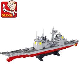 Wholesale Sluban Aircraft - FG1511 Sluban blocks B0389 aircraft carrier cruiser model military model toys fight inserted puzzle