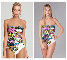 Wholesale Sexy Swimwear For Plus Size - print one piece swimsuit 2017 new floral sexy swimwear backless plus size bathing suit high waist one piece monokini for women S41294