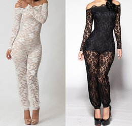 Wholesale Open Back Rompers - Fashion Woman Lace Jumpsuit Sexy White Rompers Autumn-Summer Open Back Overalls for Women New 2015 See-Through Bodysuit FG1510