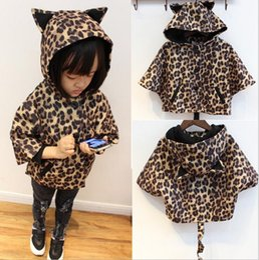 Wholesale Leopard Kids Coats - Wholesale -Winter Kids Coat Outwear Girl Leopard Jacket with Hat Children Long Tail Coat