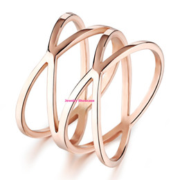 "Wholesale Simple Cross Rings - Simple Rose Gold Plated ""X"" Criss Cross Thin Band Ring 1PC"
