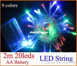 Wholesale Blue Led 6v - Wholes 3XAA Battery 2m 20 LED string Mini fairy lights battery power Operated White Warm white Blue Red Yellow Green Pink Purple multi-color