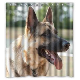 "Wholesale Animal Print Shower Curtain - Free Shipping Polyester Shower Curtain Waterproof Print Cute animal German Shepherd Dog Decorative Bathroom Screen 66"" x 72"""