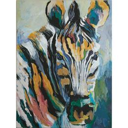 2019 mão zebra lona de pintura a óleo 100% pintado à mão dos desenhos animados animais selvagem zebra pintura a óleo sobre tela mural art desenho para home office wall decor mão zebra lona de pintura a óleo barato