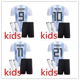 Wholesale Kids Argentina - Free epacket 2018 Argentina Kids soccer jersey set 18 19 DYBALA HIGUAIN DI MARIA ICARDI KUN AGUERO MESSI kids boys football Jerseys