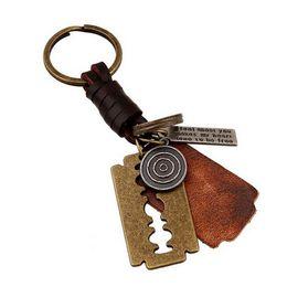 Wholesale Unique Keychain Men - Fashion Men Key chain Car KeyChain Real Leather Men Chain Metal Alloy Unique Men Gift key holder hot Jewelry Gift