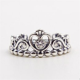 Wholesale Indian Tiaras - Fashion Jewelry Women Ring European Style Charm Ring High-quality 100% 925 Sterling Silver Princess Tiara Ring with Clear Cz