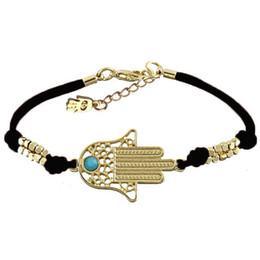 Wholesale Charms For Bracelets Wholesale Hamsa - Wholesale-New Fashion Jewelry Lucky Handmade Hamsa Hand Bracelet Leather Tone Charm Good Luck Bracelets & Bangle for Women Men