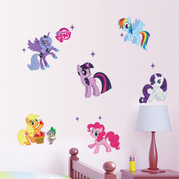 Wholesale Wall Decals Horses - new 3d new Cartoon Animals Decal Kid Room Art Decor Flying Horse Removable Decor DIY Little Pony 6 ponies wall sticker for girls room