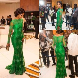 Wholesale gorgeous elegant evening long dresses - New Elegant Red Carpet Miss Nigeria Gorgeous Green Lace Celebrity Dresses Sheer Scoop Long Sleeves Trumpet Mermaid Evening Formal Gowns