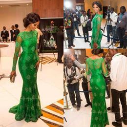 Miss nigeria s'habille en Ligne-Nouveau Élégant Tapis Rouge Miss Nigeria Magnifique Dentelle Verte Robes De Célébrité Sheer Scoop À Manches Longues Trompette Soirée Sirène Robes Formelles