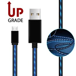 Wholesale El Usb - Cool Visible LED EL Light Wire Flowing LED Light Micro USB Sync Data Charger Cable for Samsung S6 Note 5 Huawei Xiaomi HTC