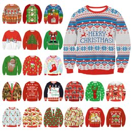 Wholesale Womens Crochet Shorts - 【DHL】Xmas Unisex 2017 UGLY CHRISTMAS SWEATER Vacation Santa Elf Funny Womens Men Sweaters Tops Autumn Winter Clothing Sweaters
