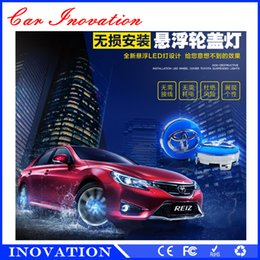 Wholesale Car Hub Light - Car Styling Toyota 4pcs 12Leds Car Covers Solar Energy Power wheels hub light waterproof RGB Wheel Center Cap LED Rims Tires For Cars