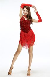 Wholesale Art Deco Clothing - 2018 Shining V Neck Stage Clothing Costume Latin Dance Dresses Women's Art Deco 1920s Gatsby Tassel Fringe Flapper Backless Dress