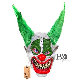 Wholesale Ghost Dresses - Scary Clown Mask Green Hair Red Nose Full Face Horror Masquerade Adult Ghost Party Mask Halloween Props Costumes Fancy Dress