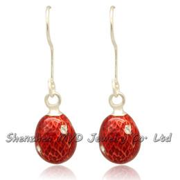 Wholesale Faberge Egg Plate - Handmade woman fashion jewelry egg shaped dangle earrings for girls Faberge Easter egg crystal drop earrings