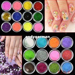 Wholesale Nail Art Glitter 24 - 100 set Lot 24 Colors Metal Shiny Nail Art Tool Kit Acrylic UV Glitter Powder Dust Stamp