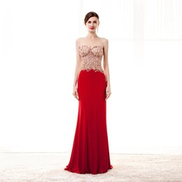 Wholesale Semi Sheer Formal Dress - Red Jersey Beads Evening Dresses Sweetheart Sheer Tulle Neck Rhinestones Mermaid Style Floor Length Semi Formal Evening Wear Gowns Open Back