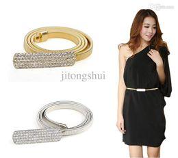 Wholesale Rhinestone Chain Belts For Women - Wholesale-Woman Elastic Metal Chain 5 Row Rhinestone Belts for dresses Gold & Silver Chain Belts For Women Cinto Feminino Fashion