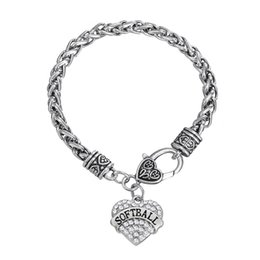 Wholesale Crystals Claw Wholesale - Gift Fashion Fitness Bodybuilding Plating SOFTBALL Rhinestone Mixcolor Crystal Heart Charm Bracelets For Women Jewelry Rhodium
