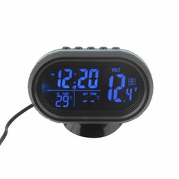 Wholesale Battery Digital Car Clock - 2 in 1 12V   24V Digital Auto Car Thermometer + Car Battery Voltmeter Voltage Meter Tester Monitor + electronic Clock hot sale