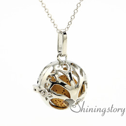 Wholesale Jewelry Ball Stone - tree ball openwork essential oil diffuser necklace diffuser lockets wholesale jewelry lockets aromatherapy necklaces lava volcanic stone met