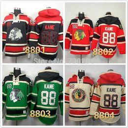billige hockeyschnürsenkel Rabatt 2016 neu, genäht billig genäht chicago blackhawks Patrick Kane # 88 Lace Up Pullover Herren Eishockey Hoodies / Kapuzen Sweatshir