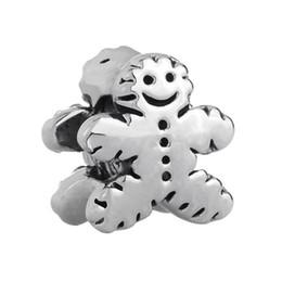 Wholesale Gingerbread Man Charm - Shenzhen factory Gingerbread Man Cookie big hole metal slider bead European spacer charm fit Pandora Chamilia Biagi charm bracelet