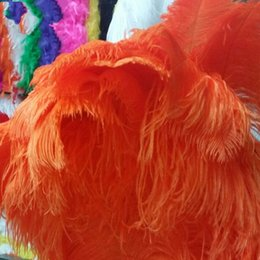 Wholesale Ostrich Feathers 24 Inches - High Quality 10PCS Thick Pole Ostrich Feather Orange Ostrich Plumage 55-60cm   22-24 Inches Plume Artware Performing Decorations