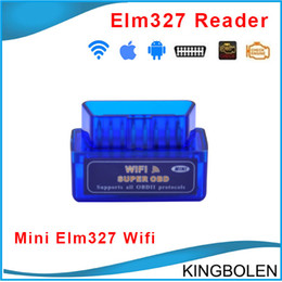 Wholesale Ipad Mini Systems - Promotion Mini ELM327 WIFI OBD2 OBD II Car Diagnostic Tool Interface Scanner Elm 327 Support For Android iPhone iPad DHL Free Shipping