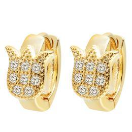 Wholesale gold earrings for babies - Wholesale- QIMING Wedding Jewelry Luxury Zircon Earrings for Women Fashion Charming Flower Earrings for Women Baby Girls Hoop Earrings