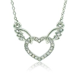 Wholesale Love Romantic - Fashion Pendant Necklace White Rhinestone Heart Wing Charms Silver Plated Necklace For Women Romantic Valentines Jewelry