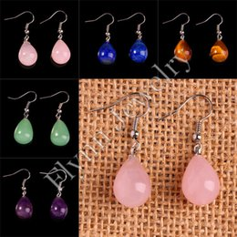 Wholesale Wholesale Rose Quartz Beads - Charm Amethyst Rose Quartz etc Natural Stone Water Drop Bead Drop Earrings Accessories Silver Plated Fashion Jewelry 10Pairs Mix Order