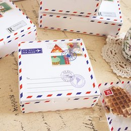 Wholesale Cake Boxes Packaging Pattern - Free shipping envelope pattern decoration cake box small white cookie dessert packing boxes bakery package party party supplies
