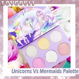 Wholesale Luminous Nails - Tooth & Nail Cosmetics UNICORN Vs MERMAID Eye Shadow Highlighter Palette 6 Colors Makeup Bronzers Highlighters Powder Free Shipping 660246-1