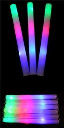 "Wholesale Stick Lights Wholesale - LED light toys Color Led Foam glow stick Wedding Party Decoration LED Toys 19"" LED Wands Rally Batons DJ Flashing Glow Light Up Foam Stick"
