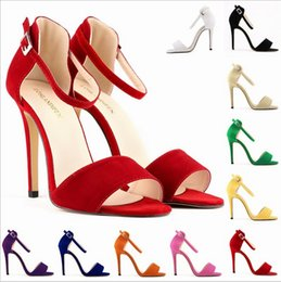 Wholesale Sexy Open Toed Orange Heels - LADY SEXY PARTY OPEN TOE BRIDAL Flock HIGH HEELS SHOES SANDALS 10 colors avalaible
