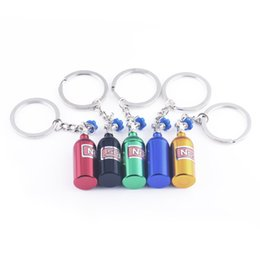 Wholesale Nos Bottles - NOS Bottle Key Chain Creative Gift Nitric Oxide Synthase Key Ring Auto Accessories Aluminum Car Keychain With Storage Space Ship From USA