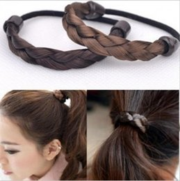 Wholesale Hairpiece Wholesale - Woman's Girls Braided Hairbands Plaited Hair Ropes Synthetic hair rings Hair Circle Hair Accessories Hairpiece 4 colors HR01
