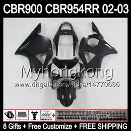 Wholesale Matte Black Fairings - 8Gifts For HONDA 02-03 CBR954RR ALL Flat black 02 03 CBR900RR 954 954RR Y6744 CBR 900RR CBR954 RR Matte 2002 2003 Free Customized Fairing