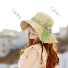 Wholesale Womens Wholesale Large Brim Hats - Wholesale-New Womens Folding Floppy Sun Hat Summer Beach Cap Hat Straw Hat Wide Large Brim Free Drop & Shipping
