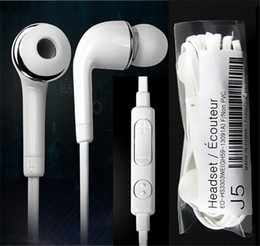 Wholesale Iphone Stereo Headset Controls - 3.5mm In-ear Earphone Stereo J5 Headset Headphone With Mic Remote Volume Control Microphone Earbud Good Quality For Samsung S4 S5 S6