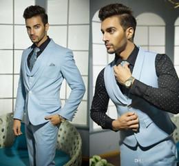 Wholesale Mens Suites - Mens Wedding Suits Handsome Formal Suits for Men Blue Vest Grooms Suite for Wedding Hot Selling One Button Tuxedos for Men